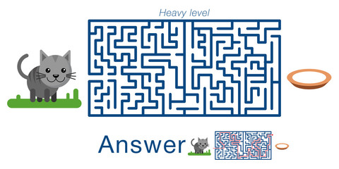 Children's labyrinth with cat and milk . A puzzle for children. Vector maze.
