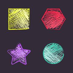 Hand drawn square, hexagon, star, round. Free hand geometric figures.