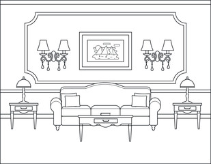 Room interior. Vector. Linear living room. Coloring page. Black white sketch in classic style. Home space with furniture in flat design. Outline contour background. Cartoon illustration in line art.