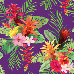 Beautiful seamless pattern with guzmania and hibiscus flowers on purple background. Vector set of blooming tropical floral for wedding invitations, greeting card and fashion design.