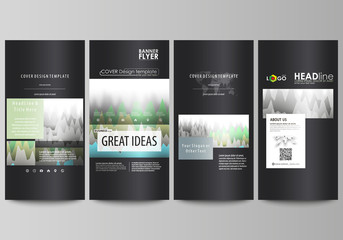 The black colored minimalistic vector illustration of the editable layout of four vertical banners, flyers design business templates. Rows of colored diagram with peaks of different height.
