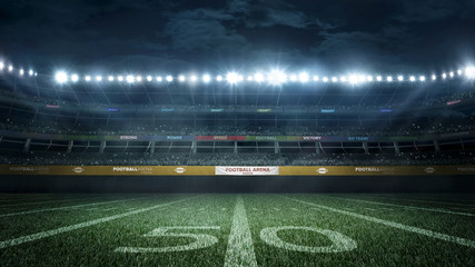 empty football stadium in light rays at night 3d rendering