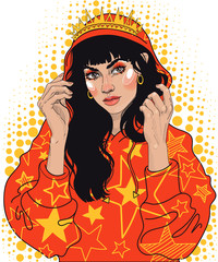 vector beautiful young brunette girl in trendy sweatshirt with crown and crown on head, in shine of golden stars