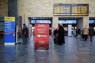 A banner shows where to buy Italo train tickets at the Santa Lucia Station in Florence