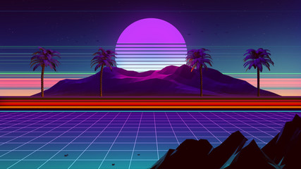80s Synthwave And Retrowave Background 3D Illustration Fototapete