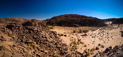 Aerial panoramic view to El Berdj mountain and erg gorge in Tassili nAjjer national park, Algeria