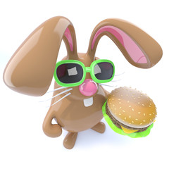 3d Funny chocolate Easter bunny rabbit holding a cheeseburger