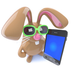 3d Funny chocolate Easter bunny rabbit holding a smartphone