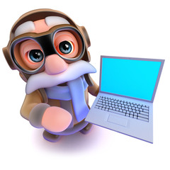3d Funny cartoon airline pilot character holding a laptop pc computer