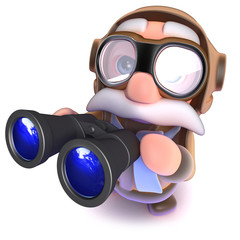 3d Funny cartoon airline pilot character holding a pair of binoculars