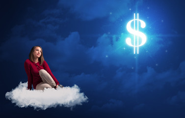 Woman sitting on cloud with cash sign