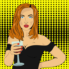 Pop art, red-haired girl with wine in a black dress, beauty