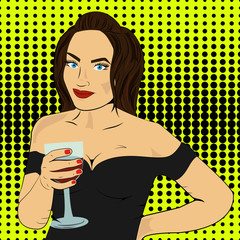 Pop art, girl with a glass in a dress, vector