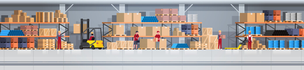 Warehouse Interior Box On Rack And People Working. Logistic Delivery Service Concept Horizontal Banner Flat Vector Illustration Wall mural