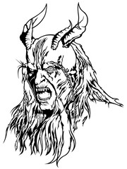 Satan's Head - Black and White Devil Illustration, Vector