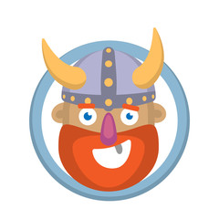 Vector cartoon head of a Viking on a white background