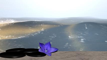 lila Blüte und Bimssteine auf Sandstrand vor der Weite des Meeres. 3d render