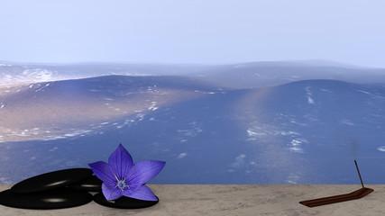 lila Blüte, Bimssteine und Räucherstäbchen auf Sandstrand vor der Weite des Meeres. 3d render