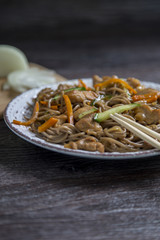 asian soba noodle and chiken teriyaki