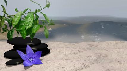 lila Blüte, Orangenbaum und Bimssteine auf Sandstrand vor der Weite des Meeres. 3d render