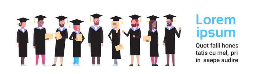Group Of Diverse Students In Graduation Cap And Gown Hold Diploma Full Length Over White Background Horizontal Banner Flat Vector Illustration