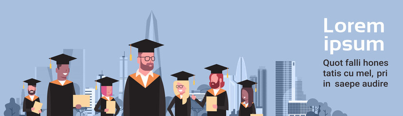 Graduation Concept Group Of Mix Race Students In Cap And Gown Hold Diploma Over Modern City Background Horizontal Banner Flat Vector Illustration