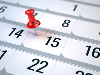 Concept of important day, reminder, organizing time and schedule - red pin marking important day on a calendar
