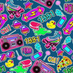 Seamless pattern with colorful elements from the nineties. Dark green background with patches, badges, pins, stickers in 90s comic style.