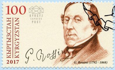 KYRGYZSTAN - 2017: shows Gioachino Antonio Rossini (1792-1868), composer