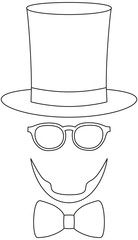 Icon line art poster man father dad day avatar element set tall hat glasses beard, beaver, bow tie.