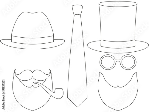 84135403 Icon line art poster man father dad day avatar elements set tall hat  glasess mustache smoking pipe beard classic tie.