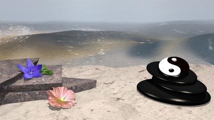 lila Blüte mit Orangenblatt, rose Wildrose, Bruchsteine und Bimssteine mit Yin und Yang Symbol auf Sandstrand vor der Weite des Meeres. 3d render