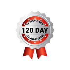 Money Back In 120 Days Template Medal With Ribbon Sign Sticker Isolated Vector Illustration