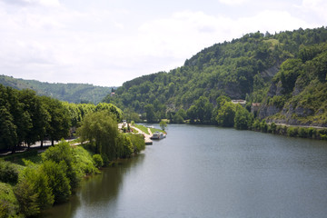 Europe, France, Midi Pyrenees, Lot, view of the River Lot from Pont Valentre in Cahors