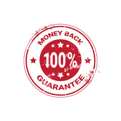 Money Back Guarantee Grunge Red Sticker Or Stamp Template Isolated Vector Illustration