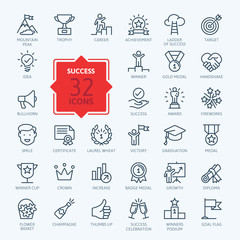Success, awards, achievment elements - minimal thin line web icon set. Outline icons collection. Simple vector illustration.