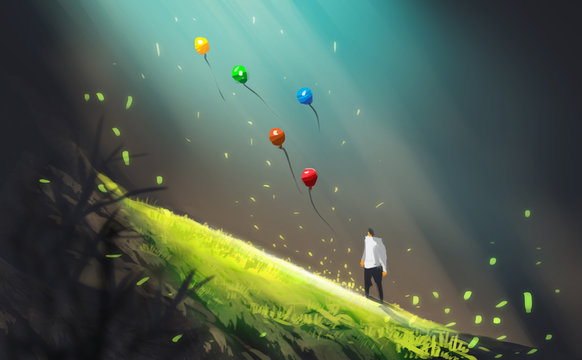 Digital illustration art painting style a man and many colorful air balloons in big cave or geothermal, light beam above green field. freedom, let it be concept.