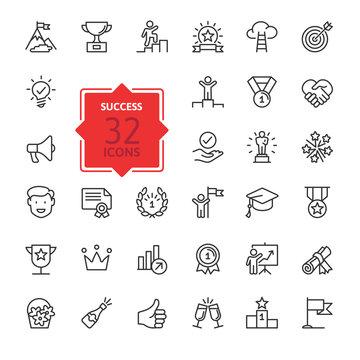 Sussess, achievment elements - minimal thin line set. Outline icons collection. Simple vector illustration.