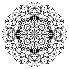 Isolated mandala for coloring book. Floral ornament for antistress adult drawing. Suitable for laser cutting.