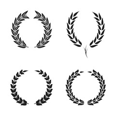 Laurel wreath foliate symbols set. Black circular silhouettes of laurel wreath with leaves for award, achievement