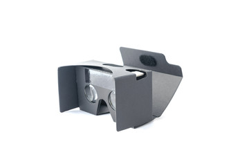 Gray virtual reality headset isolated on white