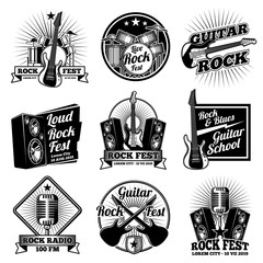 Rock and roll music vector labels. Vintage heavy metal emblems set