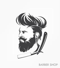 vintage barber shop emblem label badge with beard