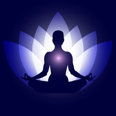 Human body in yoga lotus asana. Backgroung neon blue lotus petals dark blue space stars. Esoterics, spirituality, eastern wisdom, health, healthy lifestyle, mystery, universe. Vecto eps10