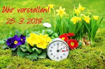 Zeitumstellung, Sommerzeit, 25.3.2018, 25. März 2018, Wecker, Uhr, Frühlingsblumen