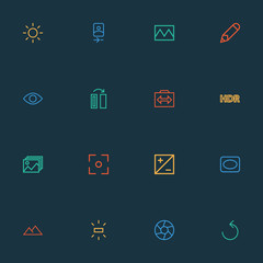 Image icons line style set with shine, photography, mode and other exposure  elements. Isolated vector illustration image icons.