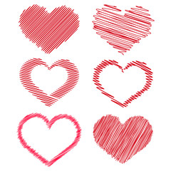 Set of red handdrawen hearts for your design. Vector