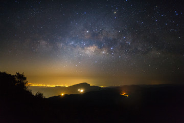 Milky way galaxy with stars and space dust in the universe before morning at Doi inthanon Chiang mai, Thailand