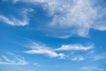 Cirrostratus cloudscape or Fluffy cirrus clouds on blue blue sky, Beautiful cirrocumulus on the high altitude layer