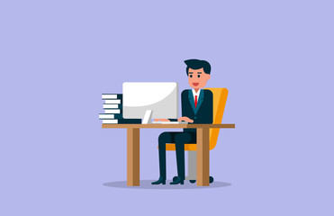 Businessman working on computer. Vector illustration of working concept.